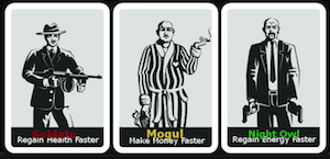 Selection view for the three mobster classes