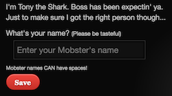 Screenshot for naming your new mobster